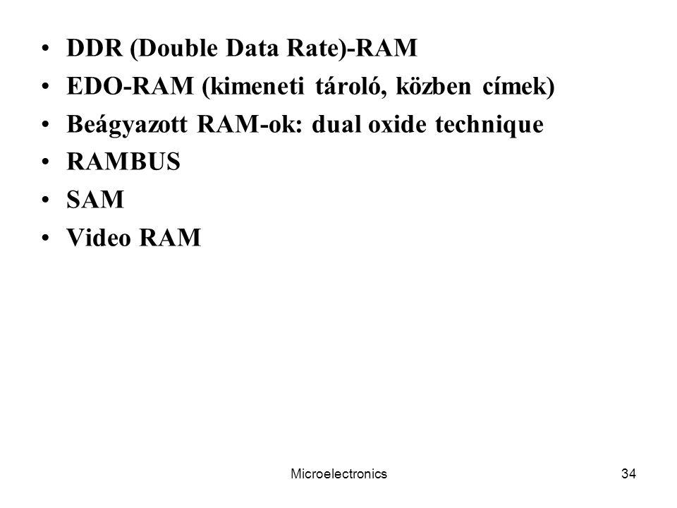 Microelectronics34 DDR (Double Data Rate)-RAM EDO-RAM (kimeneti tároló, közben címek) Beágyazott RAM-ok: dual oxide technique RAMBUS SAM Video RAM