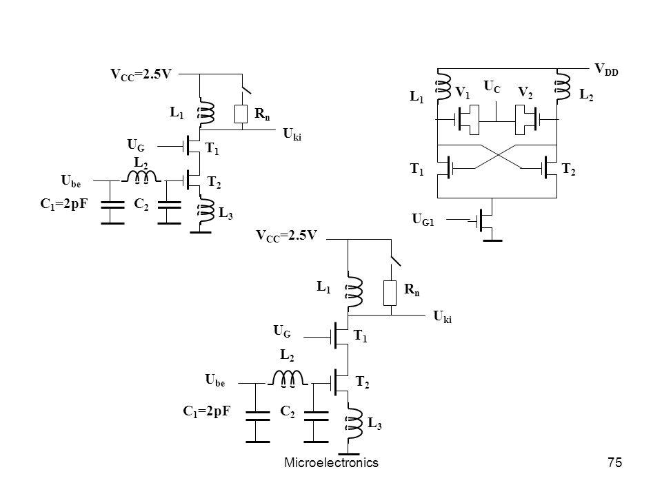 Microelectronics75 V DD V1V1 U G1 L2L2 T2T2 L1L1 T1T1 UCUC V2V2 C 1 =2pF UGUG V CC =2.5V L1L1 L2L2 L3L3 C2C2 RnRn T1T1 T2T2 U ki U be C 1 =2pF UGUG V CC =2.5V L1L1 L2L2 L3L3 C2C2 RnRn T1T1 T2T2 U ki U be