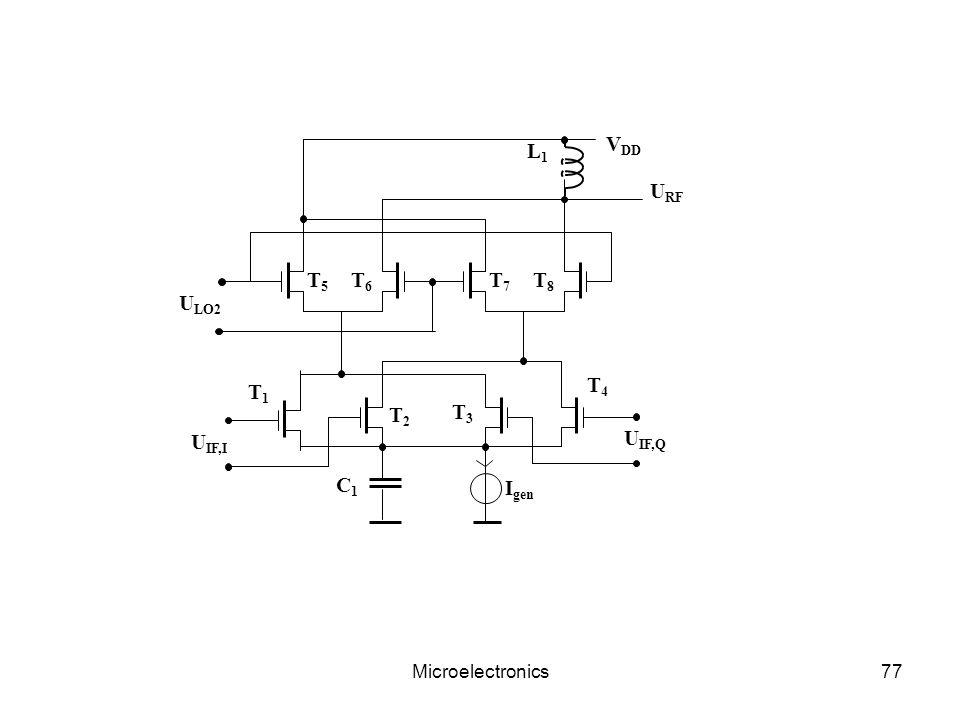 Microelectronics77 V DD L1L1 U LO2 T5T5 T6T6 T7T7 T8T8 U RF C1C1 I gen U IF,I U IF,Q T1T1 T2T2 T3T3 T4T4