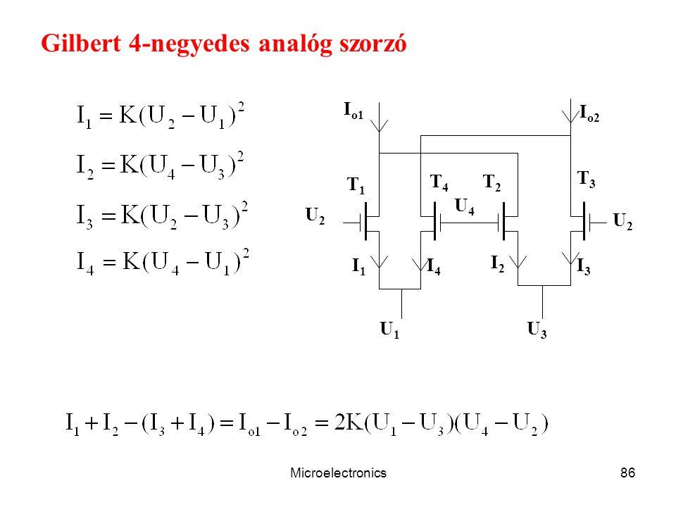 Microelectronics86 U1U1 U3U3 U2U2 T1T1 U4U4 I1I1 U2U2 I2I2 I4I4 I3I3 I o1 T2T2 T3T3 T4T4 I o2 Gilbert 4-negyedes analóg szorzó
