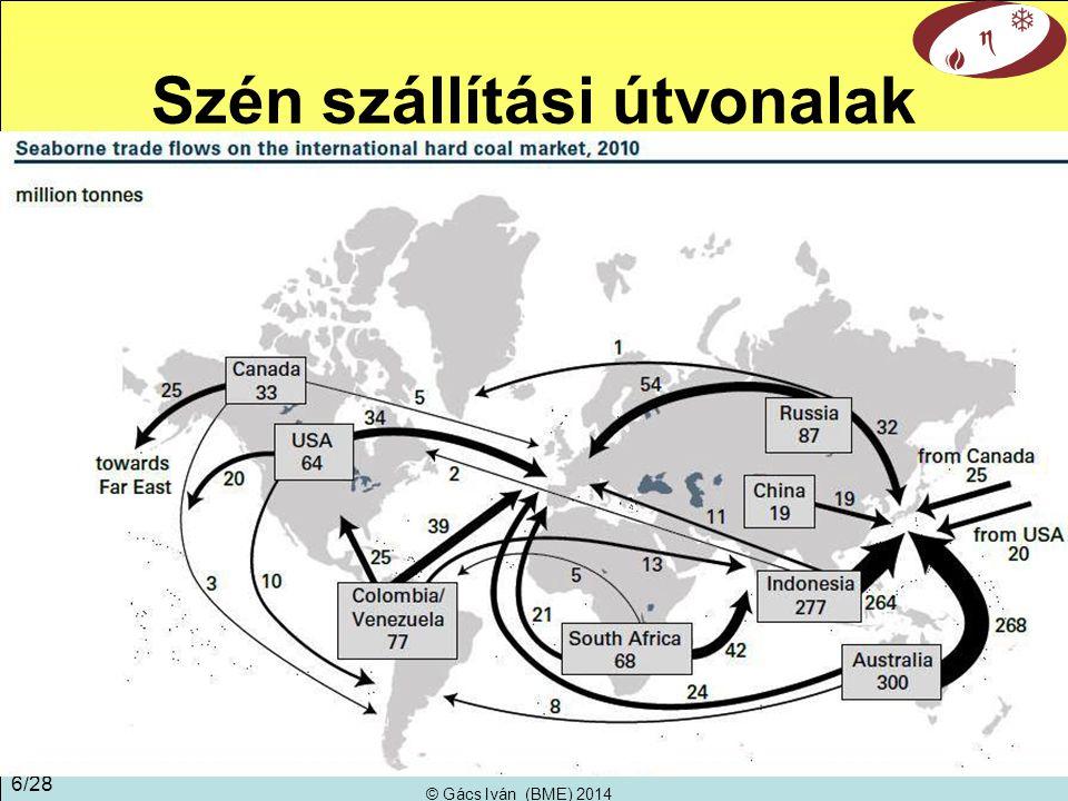 © Gács Iván (BME) 2014 6/28 Szén szállítási útvonalak