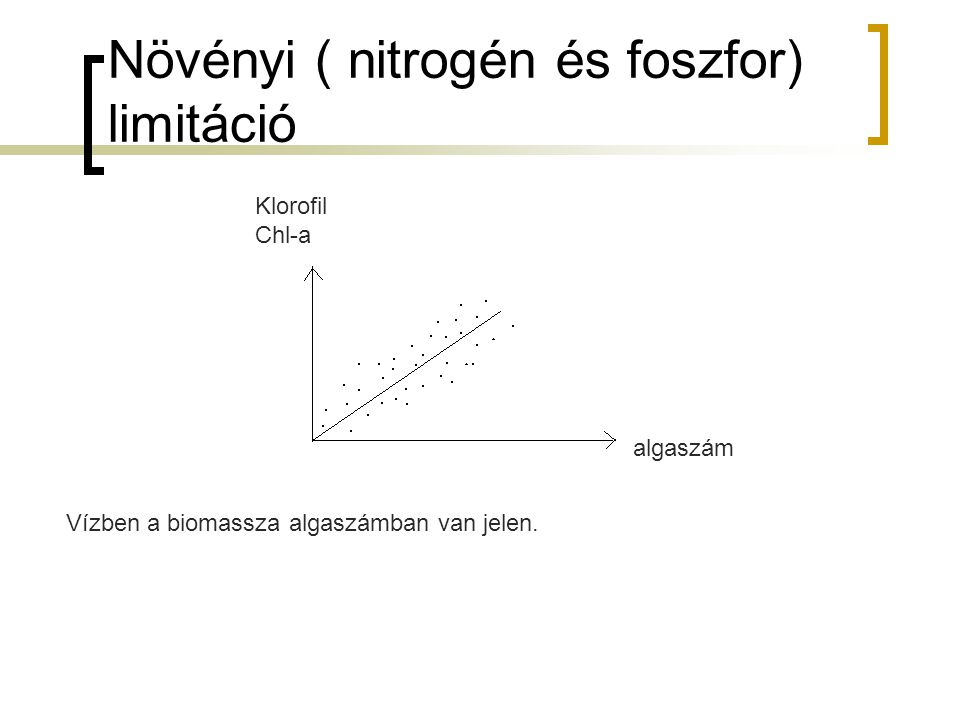 Eutifizáció mértékét a klorofil- a vizsgálatával határozzuk meg N- limitáció P- limitáció Biomassza építéséhez szükséges C:N:P arány 100:10:1 ha nem ez az arány limitáció alakul ki.
