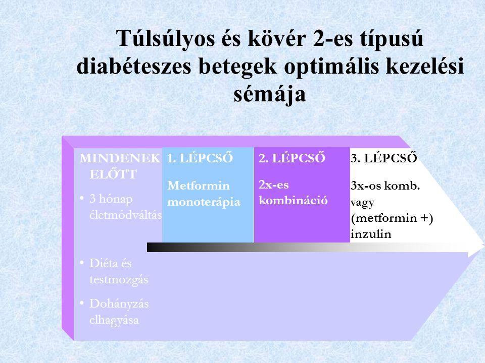 2. LÉPCSŐ 2x-es kombináció 1. LÉPCSŐ Metformin monoterápia 3. LÉPCSŐ 3x-os komb. vagy (metformin +) inzulin MINDENEK ELŐTT 3 hónap életmódváltás Diéta