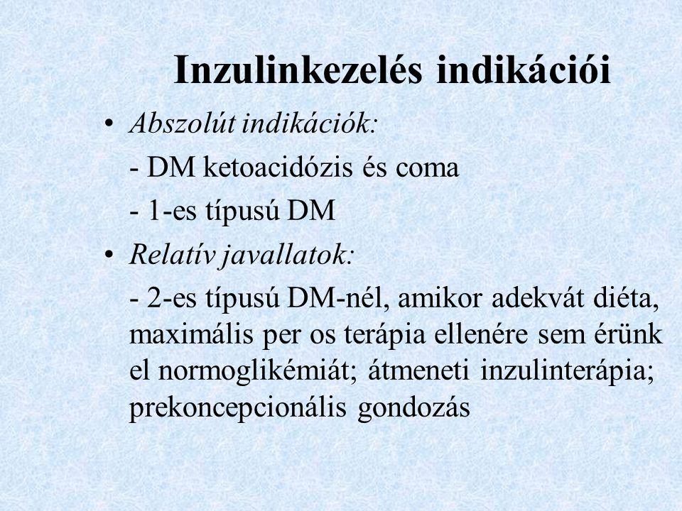 Inzulinkezelés indikációi Abszolút indikációk: - DM ketoacidózis és coma - 1-es típusú DM Relatív javallatok: - 2-es típusú DM-nél, amikor adekvát dié
