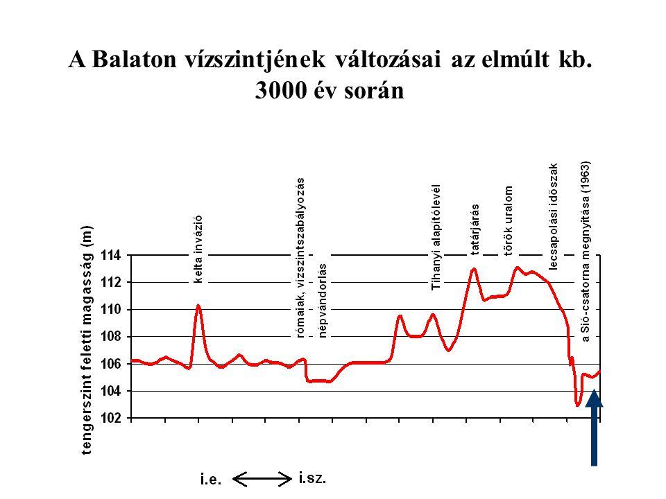 JELENSÉG KITERJEDÉSOKOK 1880-1910hinarasodás Keszthelyi-öböl: hínáros békaszõlõ (Potamogaton perfoliatus), süllõhínár (Myriophyllum spicatum ) lecsapolás, feliszapolódás 1932 nyara- 1936 vándorkagyló (Dresissena polymorpha) invázió Keleti-medence, majd a tó teljes területe az őshonos kagyló-állomány 1931-es gyérülése, Invázióérzékenység.