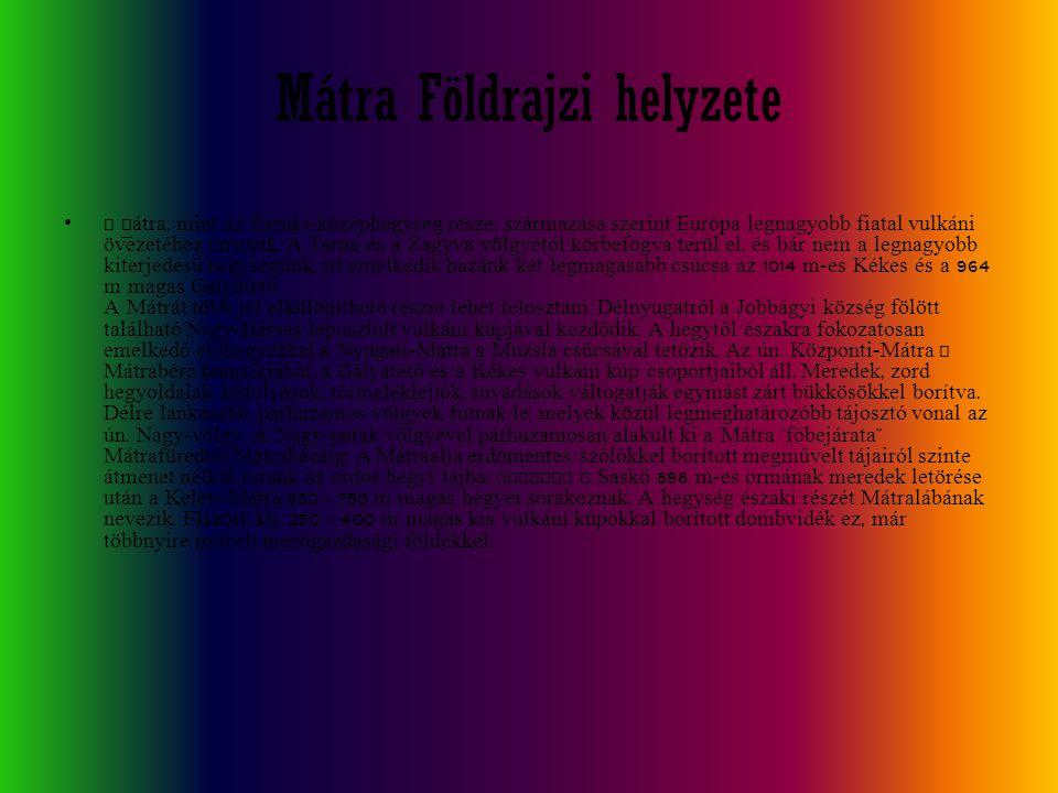 Mátra Földrajzi helyzete A Mátra, mint az É szaki-középhegység része, származása szerint Európa legnagyobb fiatal vulkáni övezetéhez tartozik. A Tarna