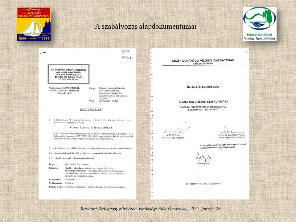 Balatoni Szövetség kibővített elnökségi ülés Örvényes, 2015. január 28. A szabályozás alapdokumentumai
