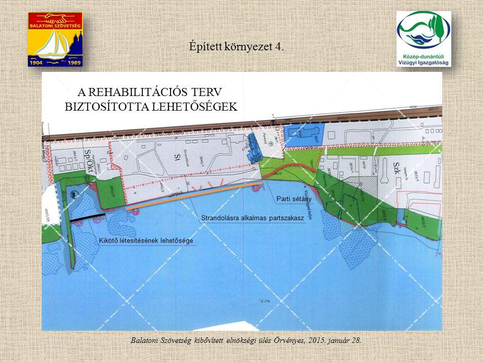 Balatoni Szövetség kibővített elnökségi ülés Örvényes, 2015. január 28. Strandolásra alkalmas partszakasz Kikötő létesítésének lehetősége Parti sétány