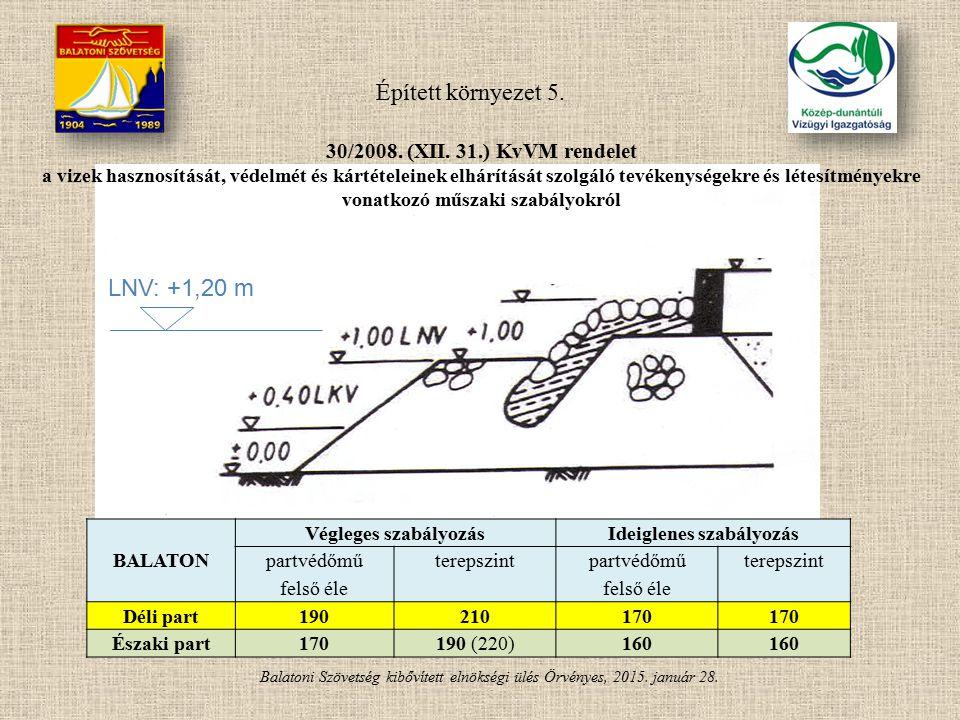 Balatoni Szövetség kibővített elnökségi ülés Örvényes, 2015. január 28. Épített környezet 5. 30/2008. (XII. 31.) KvVM rendelet a vizek hasznosítását,