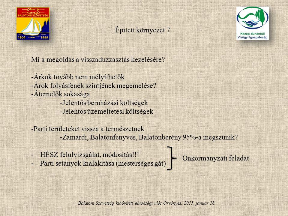 Balatoni Szövetség kibővített elnökségi ülés Örvényes, 2015. január 28. Épített környezet 7. Mi a megoldás a visszaduzzasztás kezelésére? -Árkok továb