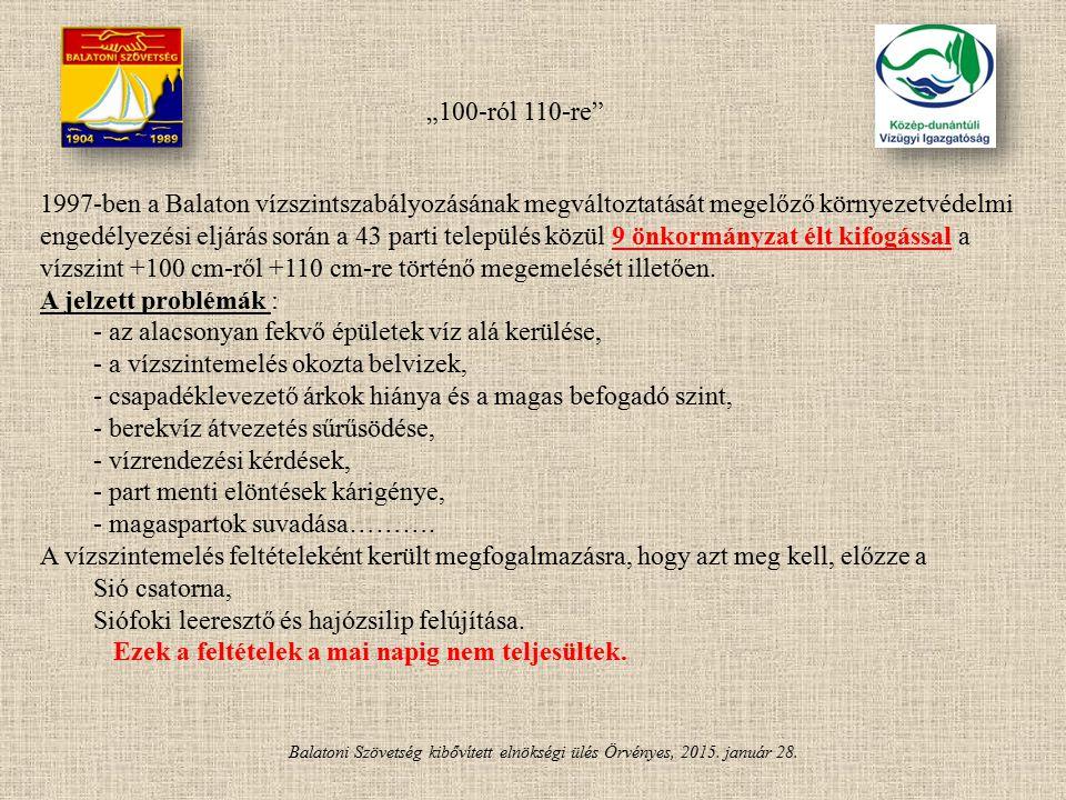 Balatoni Szövetség kibővített elnökségi ülés Örvényes, 2015. január 28. 1997-ben a Balaton vízszintszabályozásának megváltoztatását megelőző környezet