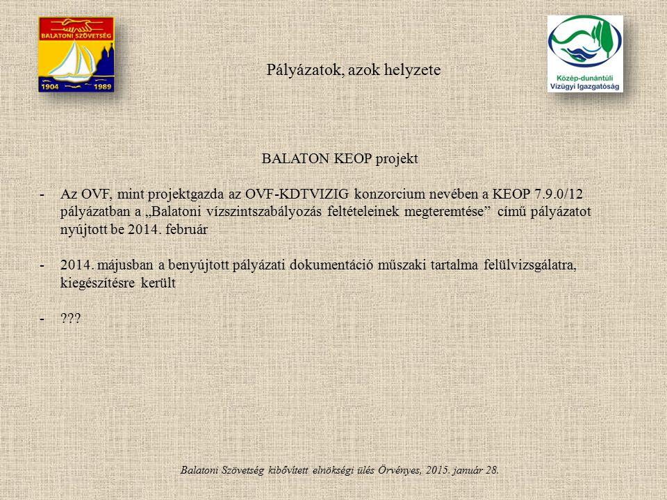 Balatoni Szövetség kibővített elnökségi ülés Örvényes, 2015. január 28. Pályázatok, azok helyzete BALATON KEOP projekt -Az OVF, mint projektgazda az O