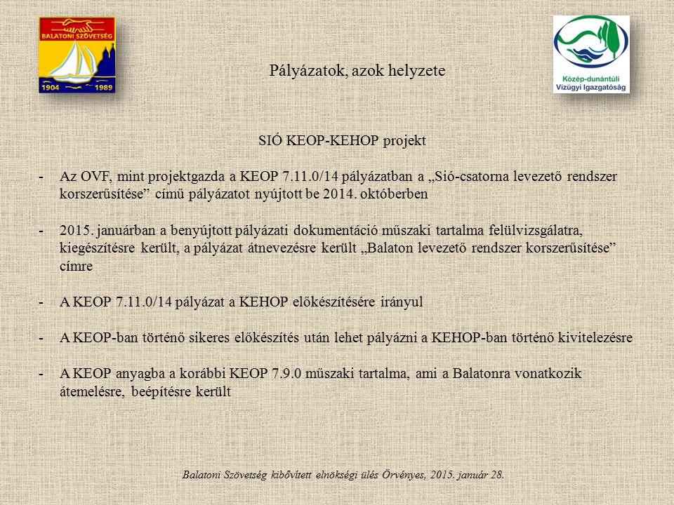 Balatoni Szövetség kibővített elnökségi ülés Örvényes, 2015. január 28. Pályázatok, azok helyzete SIÓ KEOP-KEHOP projekt -Az OVF, mint projektgazda a