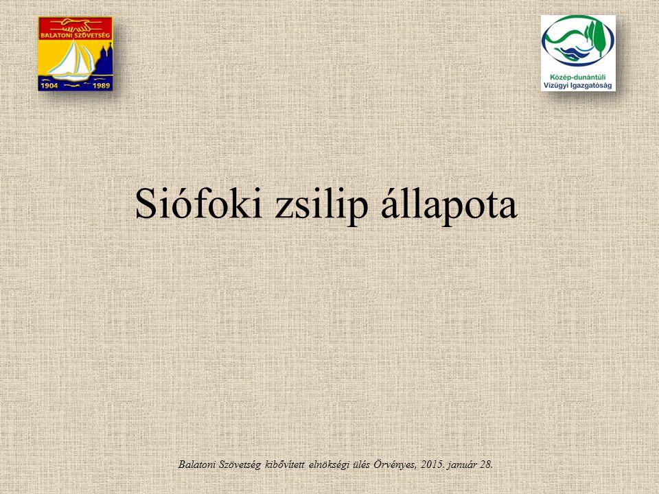 Balatoni Szövetség kibővített elnökségi ülés Örvényes, 2015. január 28. Siófoki zsilip állapota