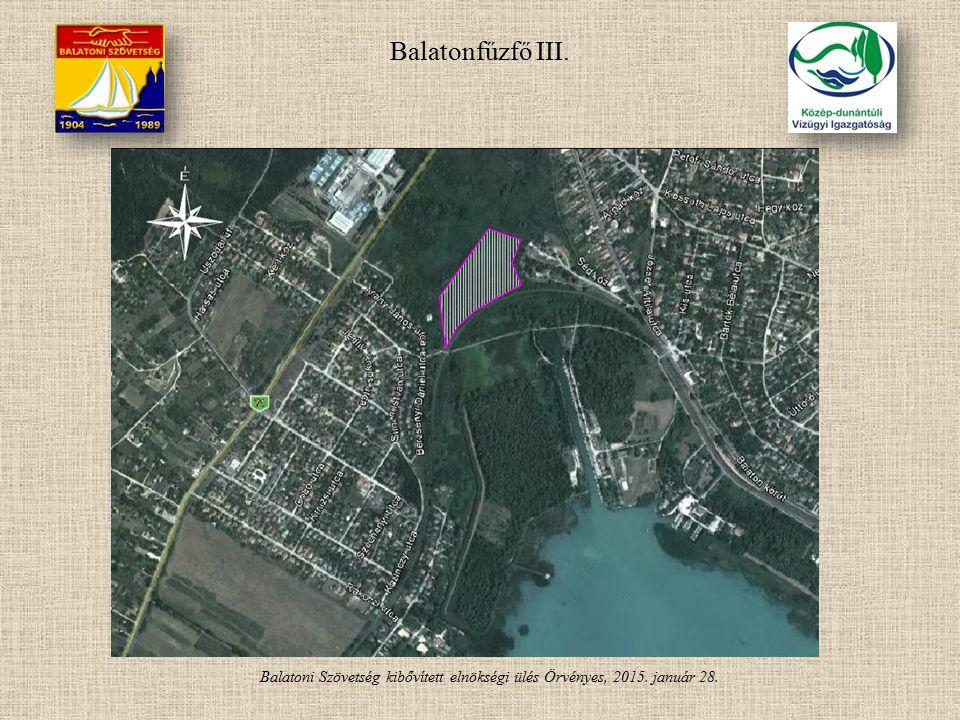 Balatoni Szövetség kibővített elnökségi ülés Örvényes, 2015. január 28. Balatonfűzfő III.