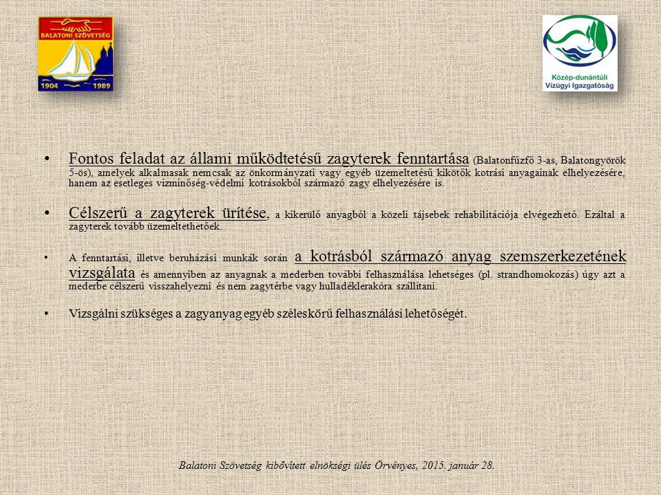 Balatoni Szövetség kibővített elnökségi ülés Örvényes, 2015. január 28. Fontos feladat az állami működtetésű zagyterek fenntartása (Balatonfűzfő 3-as,
