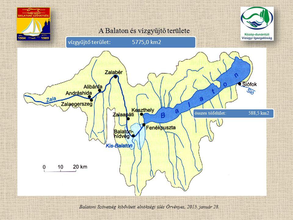 Balatoni Szövetség kibővített elnökségi ülés Örvényes, 2015. január 28. A Balaton és vízgyűjtő területe vízgyűjtő terület:5775,0 km2 összes tófelület: