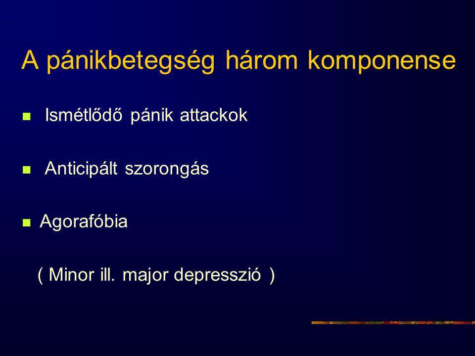 A pánikbetegség három komponense Ismétlődő pánik attackok Anticipált szorongás Agorafóbia ( Minor ill. major depresszió )