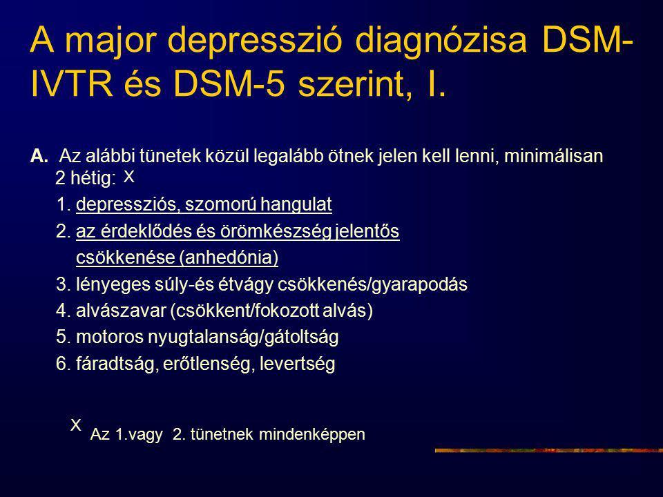 A major depresszió diagnózisa DSM- IVTR és DSM-5 szerint, I. A. Az alábbi tünetek közül legalább ötnek jelen kell lenni, minimálisan 2 hétig: 1. depre