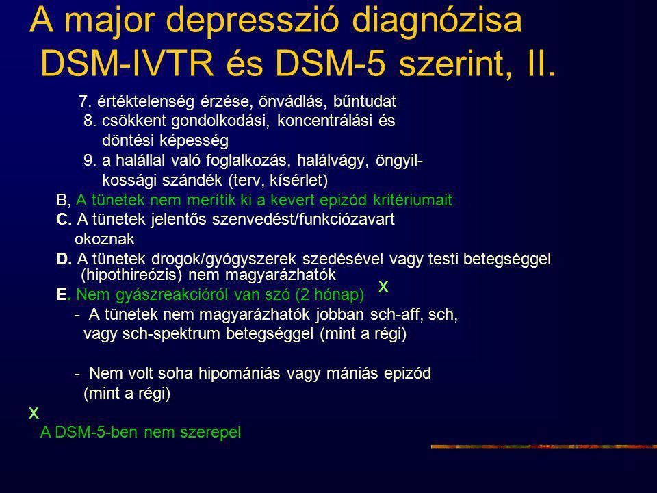 A major depresszió diagnózisa DSM-IVTR és DSM-5 szerint, II. 7. értéktelenség érzése, önvádlás, bűntudat 8. csökkent gondolkodási, koncentrálási és dö