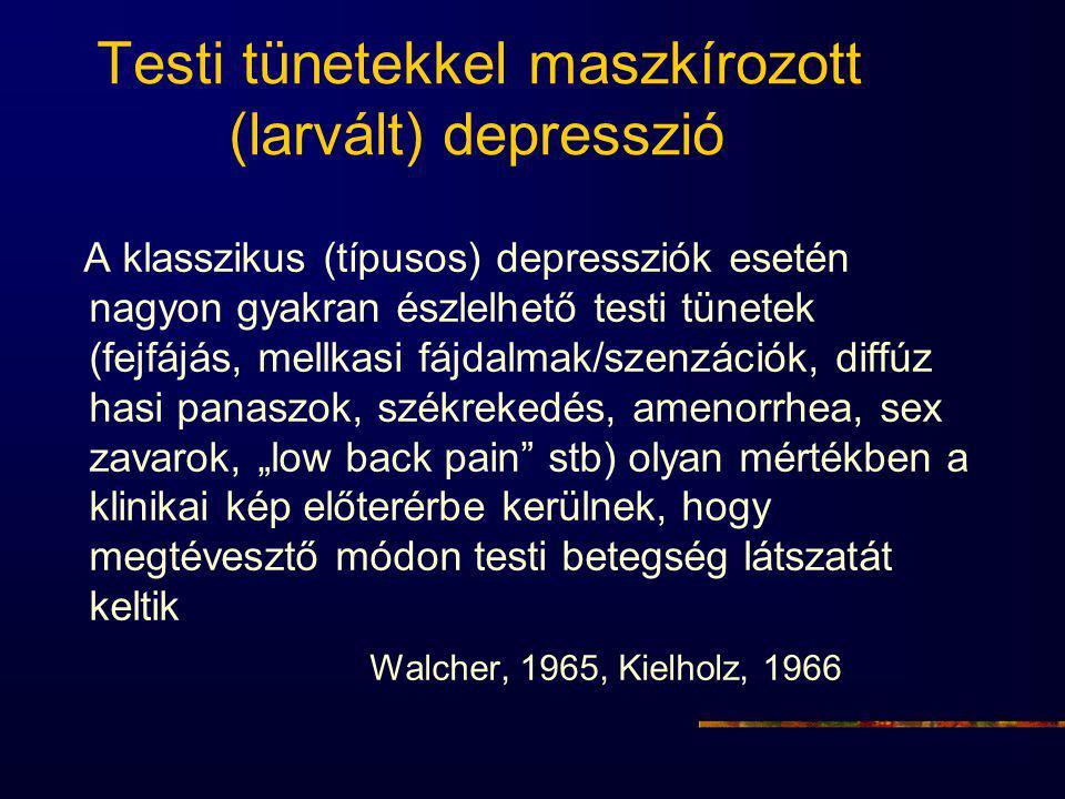 Testi tünetekkel maszkírozott (larvált) depresszió A klasszikus (típusos) depressziók esetén nagyon gyakran észlelhető testi tünetek (fejfájás, mellka