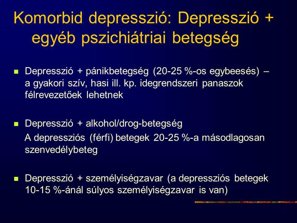 Komorbid depresszió: Depresszió + egyéb pszichiátriai betegség Depresszió + pánikbetegség (20-25 %-os egybeesés) – a gyakori szív, hasi ill. kp. idegr