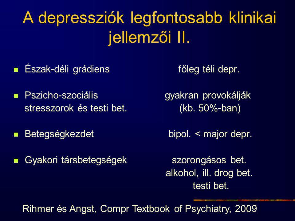 A depressziók legfontosabb klinikai jellemzői II.Észak-déli grádiens főleg téli depr.