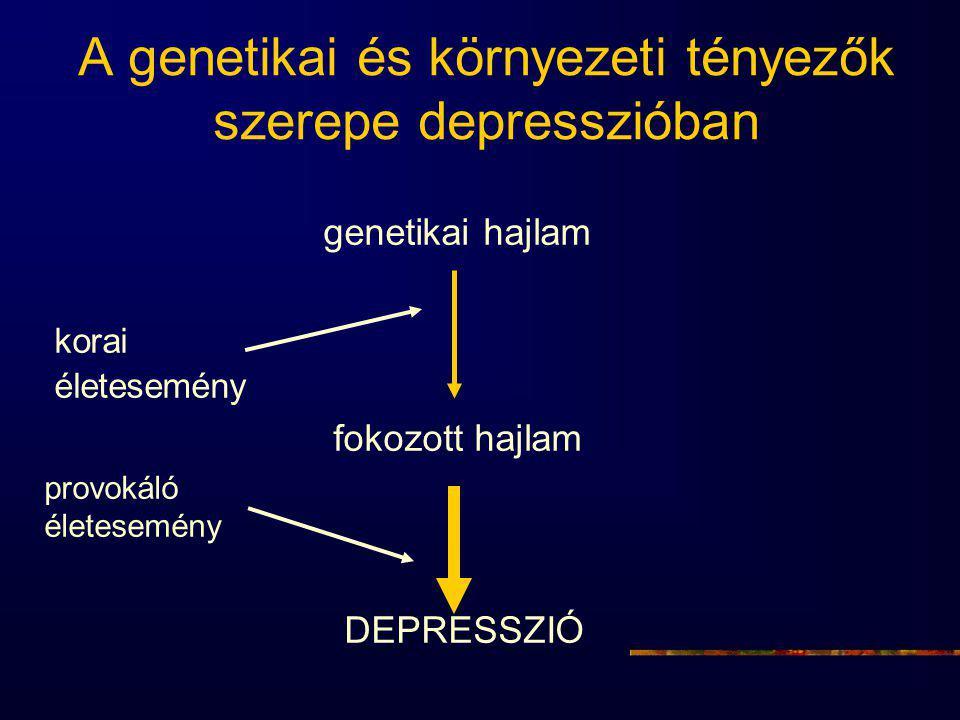 A genetikai és környezeti tényezők szerepe depresszióban genetikai hajlam korai életesemény fokozott hajlam provokáló életesemény DEPRESSZIÓ