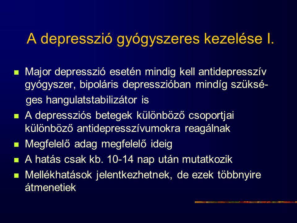 A depresszió gyógyszeres kezelése I. Major depresszió esetén mindig kell antidepresszív gyógyszer, bipoláris depresszióban mindíg szüksé- ges hangulat