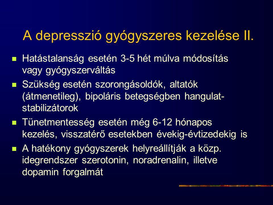 A depresszió gyógyszeres kezelése II. Hatástalanság esetén 3-5 hét múlva módosítás vagy gyógyszerváltás Szükség esetén szorongásoldók, altatók (átmene