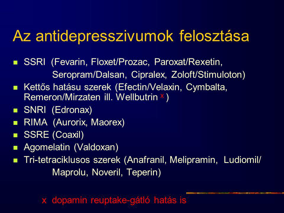 Az antidepresszivumok felosztása SSRI (Fevarin, Floxet/Prozac, Paroxat/Rexetin, Seropram/Dalsan, Cipralex, Zoloft/Stimuloton) Kettős hatásu szerek (Efectin/Velaxin, Cymbalta, Remeron/Mirzaten ill.