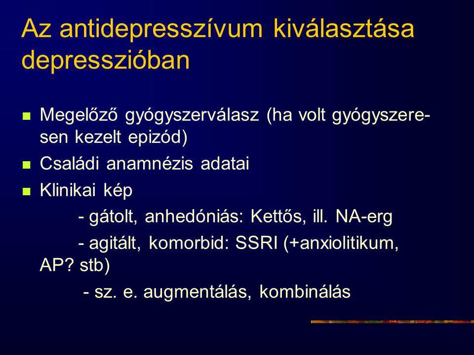 Az antidepresszívum kiválasztása depresszióban Megelőző gyógyszerválasz (ha volt gyógyszere- sen kezelt epizód) Családi anamnézis adatai Klinikai kép - gátolt, anhedóniás: Kettős, ill.
