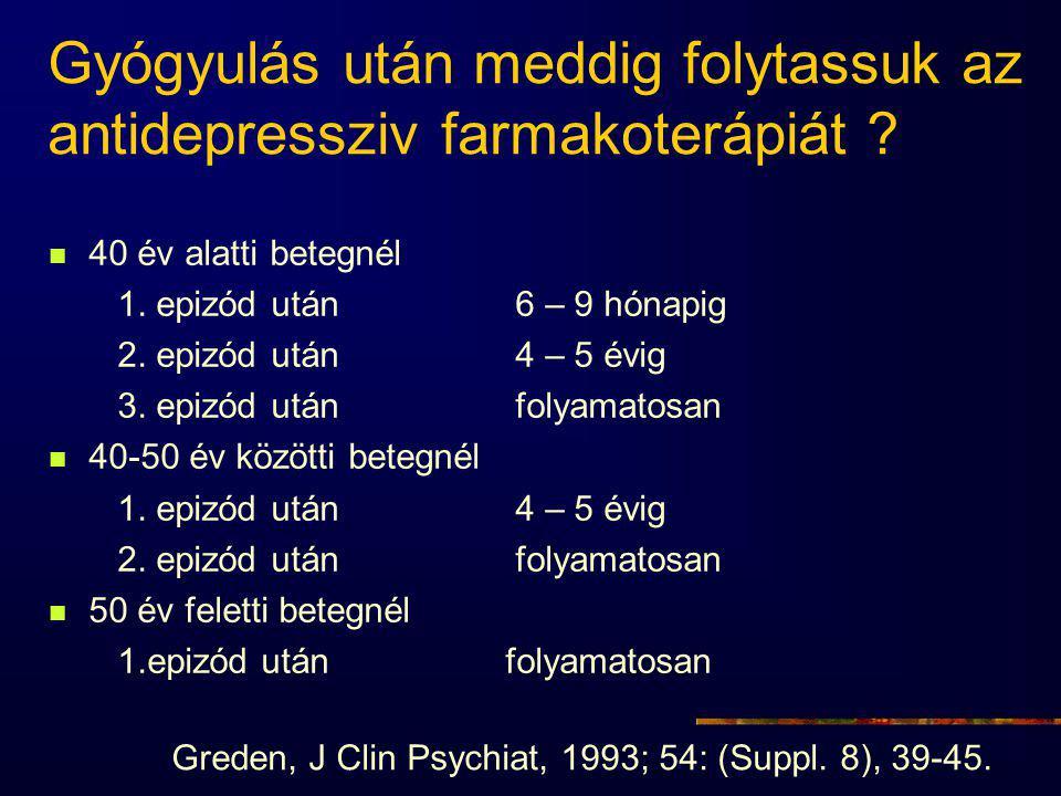 Gyógyulás után meddig folytassuk az antidepressziv farmakoterápiát .