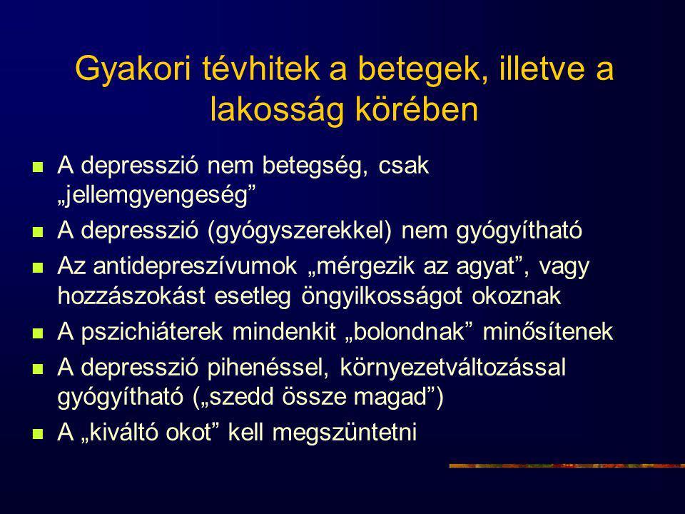 """Gyakori tévhitek a betegek, illetve a lakosság körében A depresszió nem betegség, csak """"jellemgyengeség A depresszió (gyógyszerekkel) nem gyógyítható Az antidepreszívumok """"mérgezik az agyat , vagy hozzászokást esetleg öngyilkosságot okoznak A pszichiáterek mindenkit """"bolondnak minősítenek A depresszió pihenéssel, környezetváltozással gyógyítható (""""szedd össze magad ) A """"kiváltó okot kell megszüntetni"""