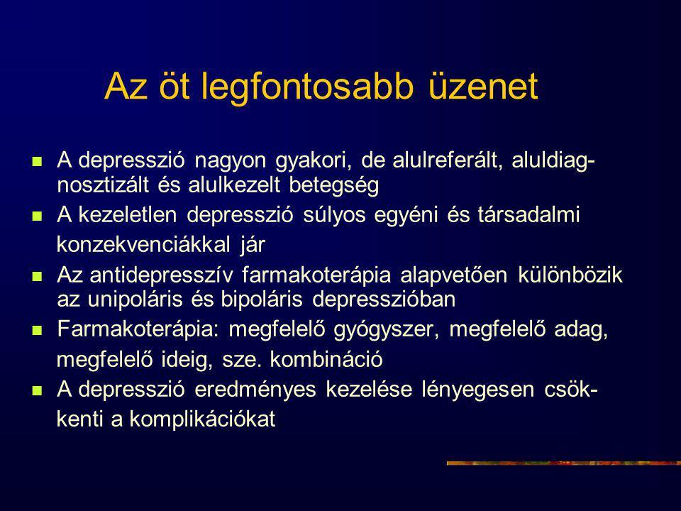 Az öt legfontosabb üzenet A depresszió nagyon gyakori, de alulreferált, aluldiag- nosztizált és alulkezelt betegség A kezeletlen depresszió súlyos egyéni és társadalmi konzekvenciákkal jár Az antidepresszív farmakoterápia alapvetően különbözik az unipoláris és bipoláris depresszióban Farmakoterápia: megfelelő gyógyszer, megfelelő adag, megfelelő ideig, sze.