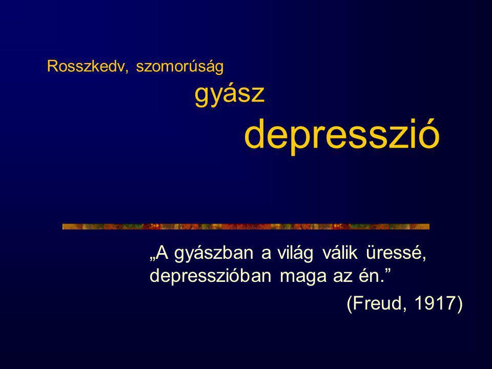 """Rosszkedv, szomorúság gyász depresszió """"A gyászban a világ válik üressé, depresszióban maga az én. (Freud, 1917)"""