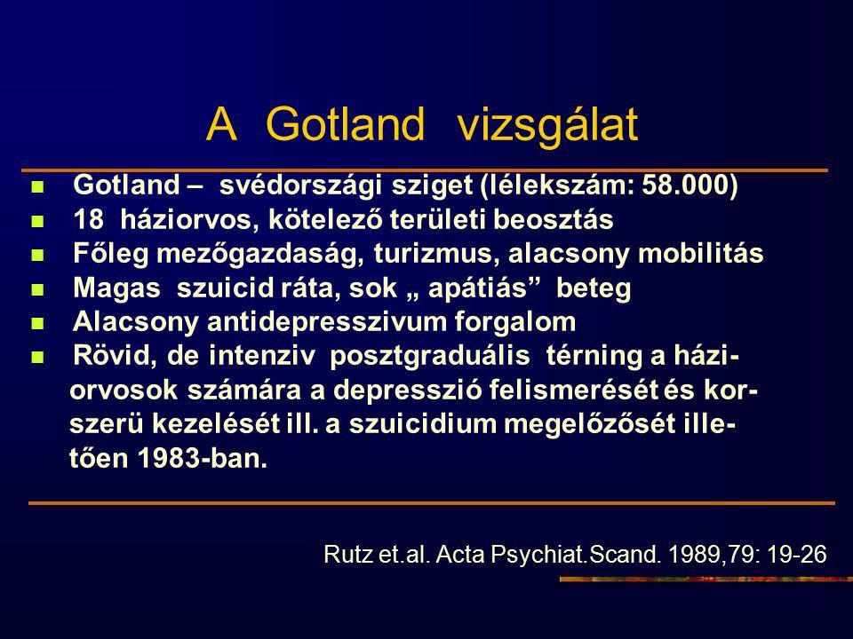 """A Gotland vizsgálat Gotland – svédországi sziget (lélekszám: 58.000) 18 háziorvos, kötelező területi beosztás Főleg mezőgazdaság, turizmus, alacsony mobilitás Magas szuicid ráta, sok """" apátiás beteg Alacsony antidepresszivum forgalom Rövid, de intenziv posztgraduális térning a házi- orvosok számára a depresszió felismerését és kor- szerü kezelését ill."""