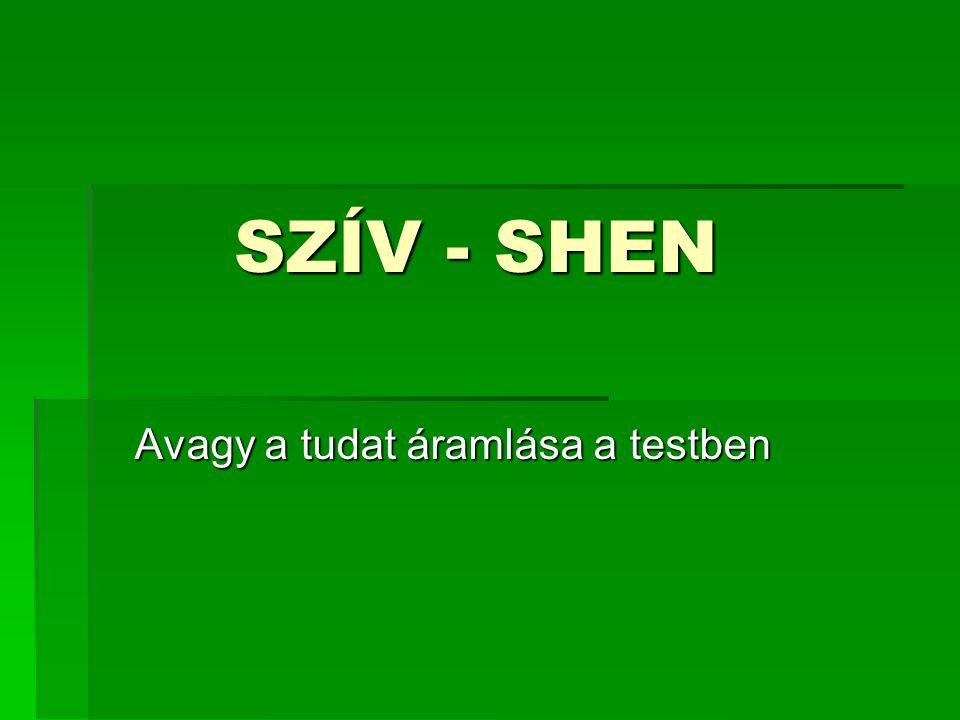SZÍV - SHEN SZÍV - SHEN Avagy a tudat áramlása a testben
