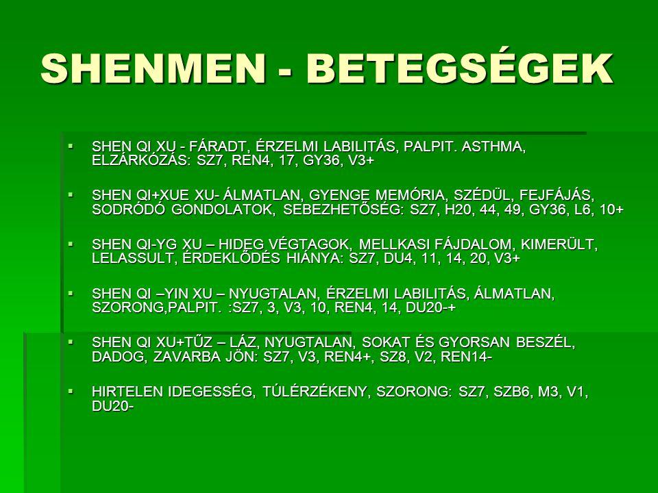 SHENMEN - BETEGSÉGEK  SHEN QI XU - FÁRADT, ÉRZELMI LABILITÁS, PALPIT. ASTHMA, ELZÁRKÓZÁS: SZ7, REN4, 17, GY36, V3+  SHEN QI+XUE XU- ÁLMATLAN, GYENGE