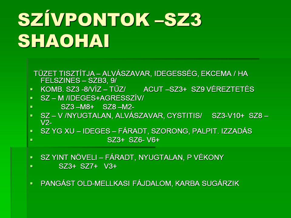 SZ KÓRMINTÁK  SZ VÉRPANGÁS – SZÍVTÁJI FÁJÁS ÉS DISKOMFORT, CYANOSIS  P: DRÓT, HULLÁMZÓ SZABÁLYTALAN NY:PÖTTYÖS  T: REN14, 17, SZB1, 6, L4, 21-+  REN4+ V7+  SZ YIN XU – FÁRADT, NYUGTALAN, GYORS BESZÉD, DADOGÓ, FÁRASZTÓ, UNALMAS, ÁLMATLAN, PALPIT.