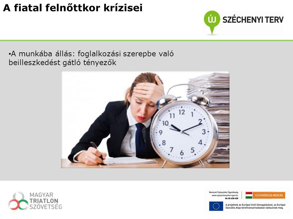A fiatal felnőttkor krízisei A munkába állás: foglalkozási szerepbe való beilleszkedést gátló tényezők