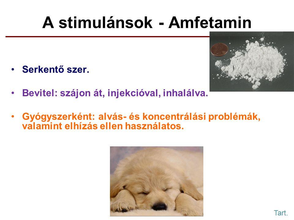 A stimulánsok - Amfetamin Serkentő szer.Bevitel: szájon át, injekcióval, inhalálva.