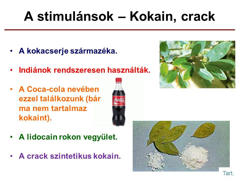 A stimulánsok – Kokain, crack A kokacserje származéka.
