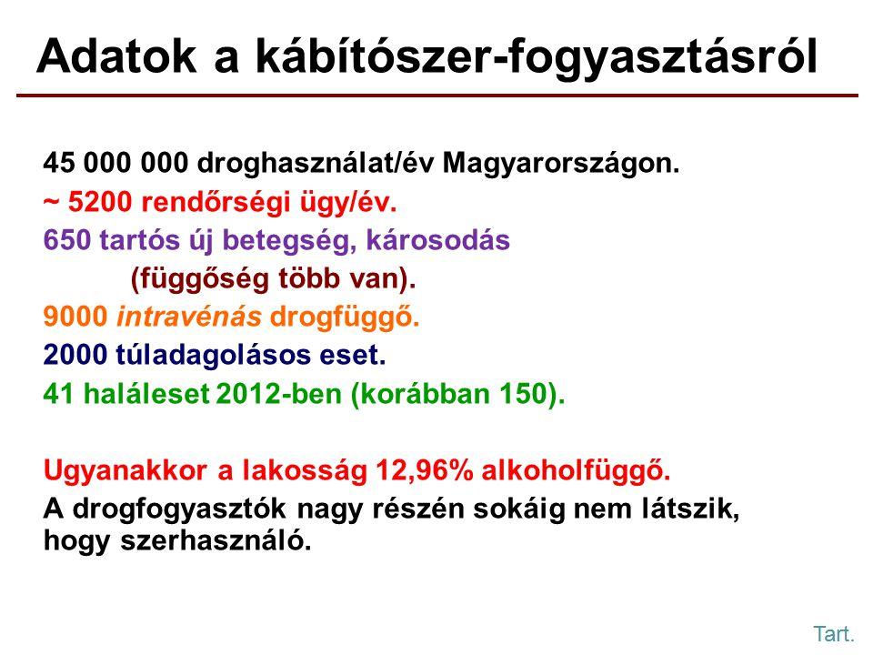 45 000 000 droghasználat/év Magyarországon.~ 5200 rendőrségi ügy/év.