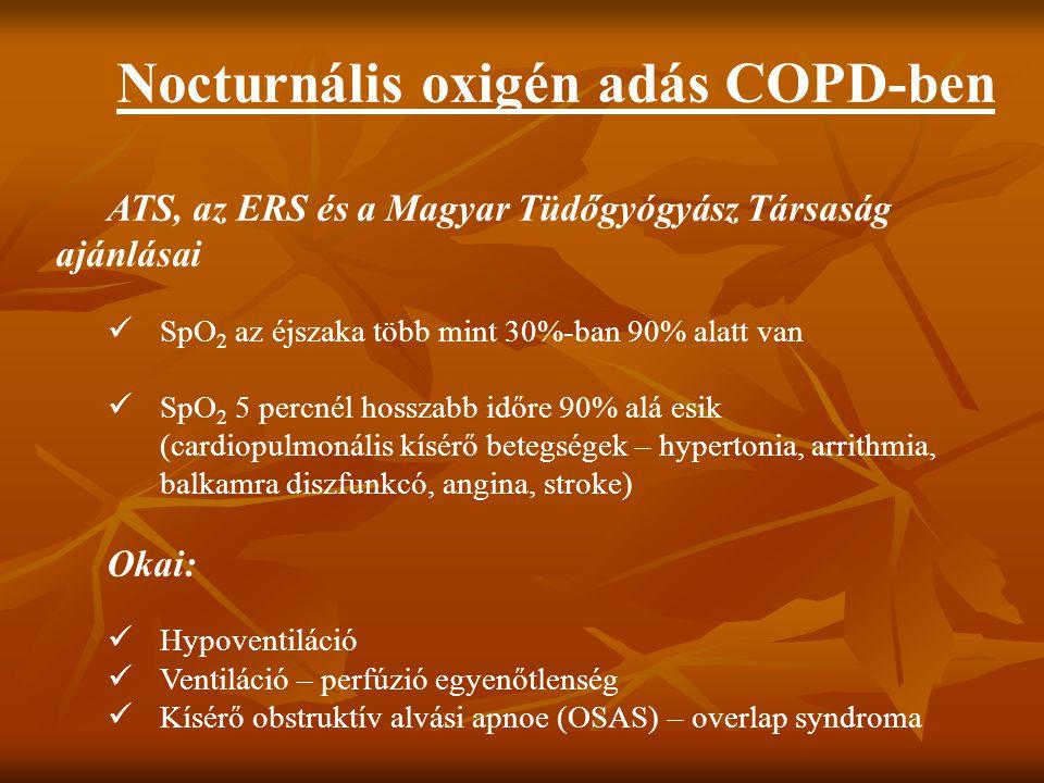 Nocturnális oxigén adás COPD-ben ATS, az ERS és a Magyar Tüdőgyógyász Társaság ajánlásai SpO 2 az éjszaka több mint 30%-ban 90% alatt van SpO 2 5 perc