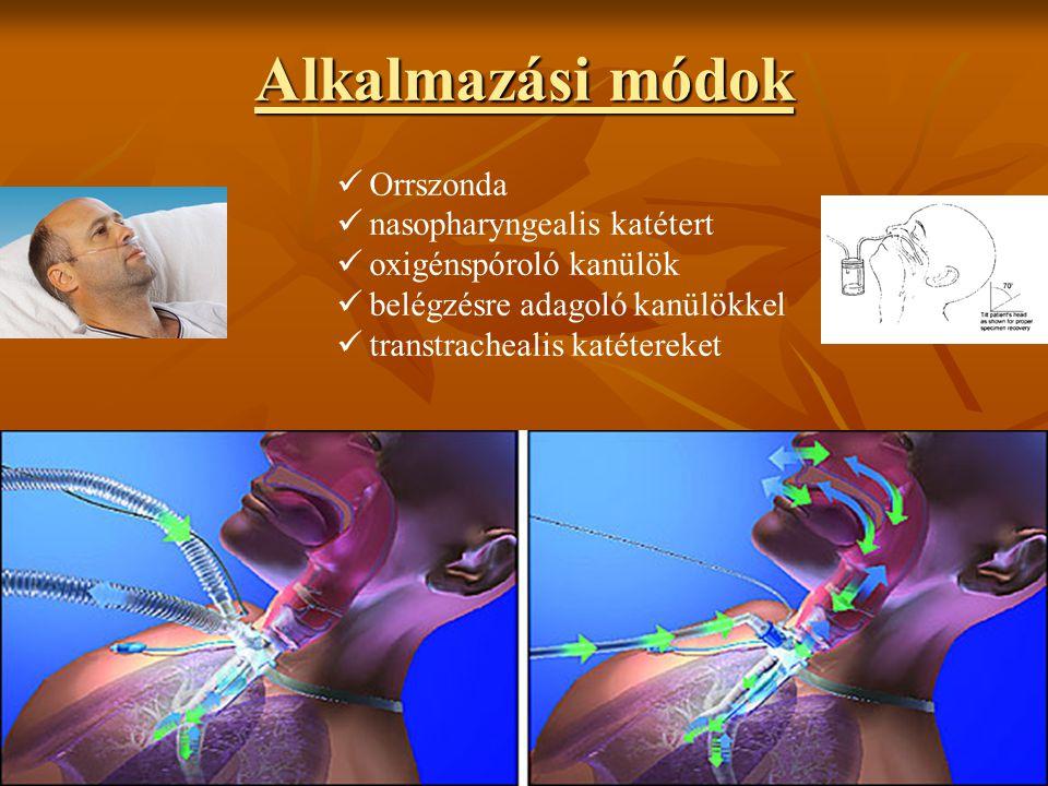 Alkalmazási módok Orrszonda nasopharyngealis katétert oxigénspóroló kanülök belégzésre adagoló kanülökkel transtrachealis katétereket