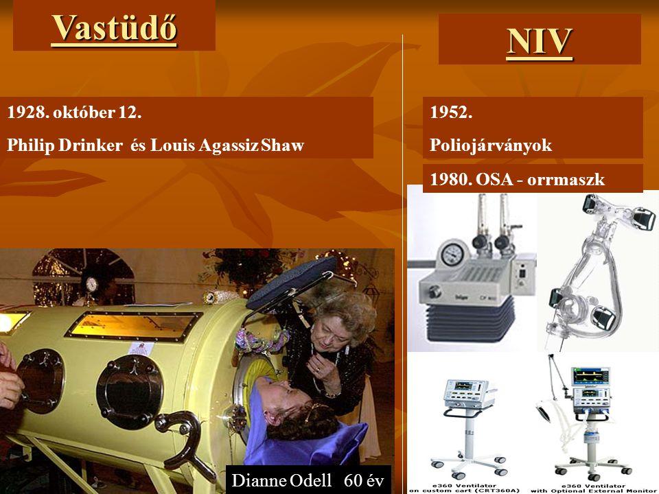 1928. október 12. Philip Drinker és Louis Agassiz Shaw Dianne Odell 60 évVastüdőNIV 1952. Poliojárványok 1980. OSA - orrmaszk