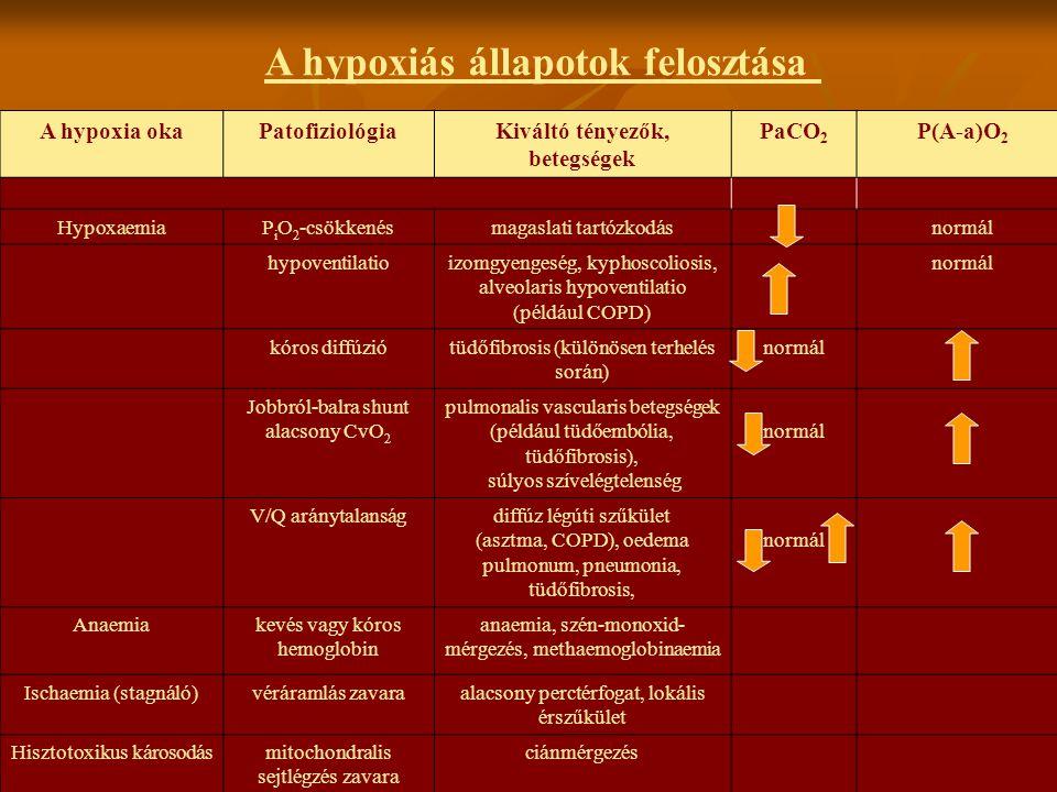 A hypoxia okaPatofiziológiaKiváltó tényezők, betegségek PaCO 2 P(A-a)O 2 HypoxaemiaP i O 2 -csökkenésmagaslati tartózkodásnormál hypoventilatioizomgye