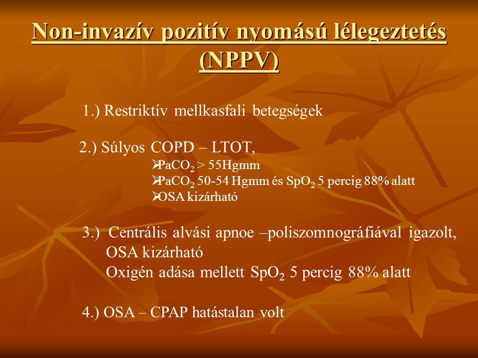 Non-invazív pozitív nyomású lélegeztetés (NPPV) 1.) Restriktív mellkasfali betegségek 2.) Súlyos COPD – LTOT,  PaCO 2 > 55Hgmm  PaCO 2 50-54 Hgmm és