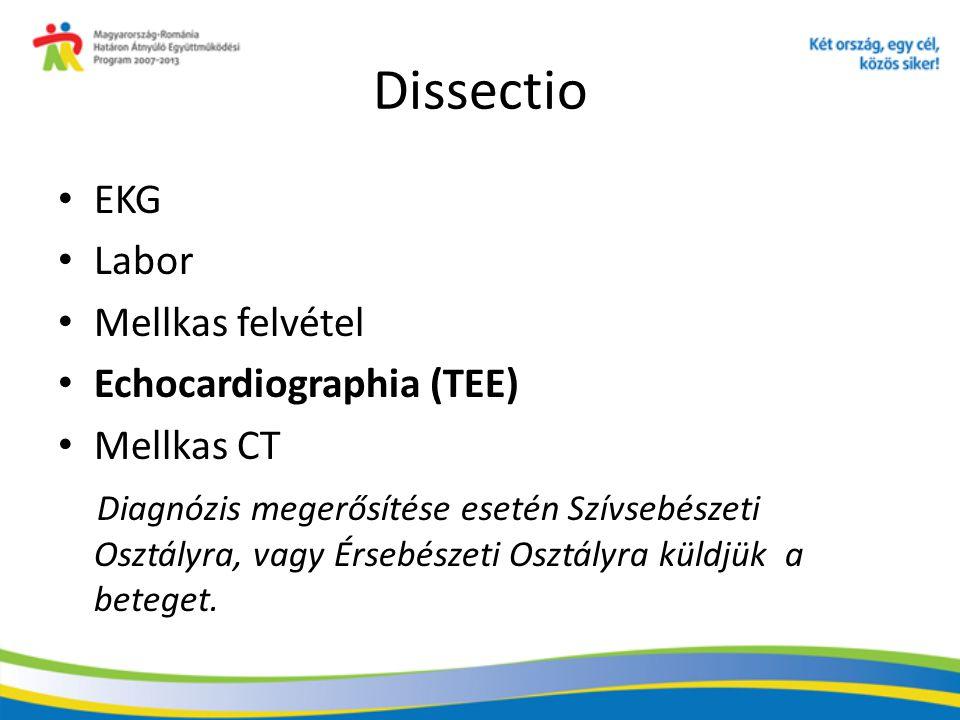 Dissectio EKG Labor Mellkas felvétel Echocardiographia (TEE) Mellkas CT Diagnózis megerősítése esetén Szívsebészeti Osztályra, vagy Érsebészeti Osztál